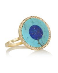 Jennifer Meyer | Blue Evil Eye 18-Karat Gold Turquoise, Lapis Lazuli And Diamond Ring | Lyst