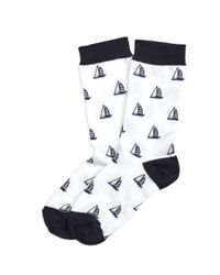 Brooks Brothers | White Sailboat Cotton Blend Crew Socks | Lyst