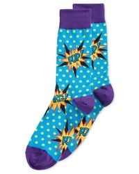 Hot Sox | Blue Colorblocked Comic-pop Crew Socks for Men | Lyst