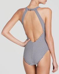 Tory Burch - Blue Classic Stripe High Neck One Piece Swimsuit - Lyst