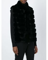 Yves Salomon - Black Striped Silk and Rabbit-Fur Vest  - Lyst