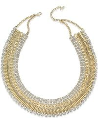 ABS By Allen Schwartz | Metallic Gold-tone Pavé Collar Necklace | Lyst