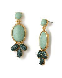 Lele Sadoughi | Palm Leaf Green Feathered Fan Earrings | Lyst