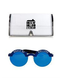 House of Holland - Blue Brow Beater Metal Sunglasses - Lyst