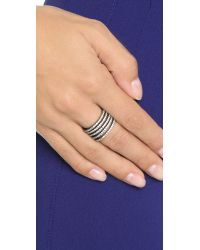 Noir Jewelry | Metallic Audley Stackable Hinge Ring - Gunmetal/clear | Lyst
