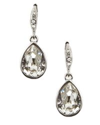 Givenchy | White Silvertone Teardrop-shaped Crystal Drop Earrings | Lyst