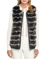 Catherine Malandrino | Black Pepper Faux Leather Trim & Faux Fur Vest | Lyst
