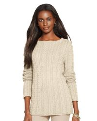 Lauren by Ralph Lauren | Natural Cable Knit Cotton Sweater | Lyst