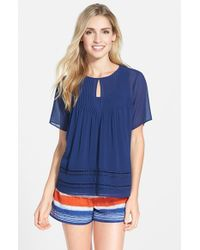 MICHAEL Michael Kors | Blue Open Stitch Inset Keyhole Top | Lyst