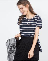 Zara | Blue T-shirt With Beaded Neckline | Lyst