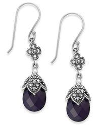 Macy's | Genevieve & Grace Marcasite And Purple Glass Teardrop Earrings In Sterling Silver | Lyst