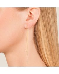 Dutch Basics - Pink Cylinder Drop Chain Earrings Rose Gold - Lyst