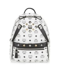 MCM White Small Dual Stark Backpack