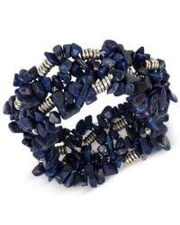 Kenneth Cole | Blue Silver-tone Semiprecious Chip Bead Stretch Bracelet | Lyst
