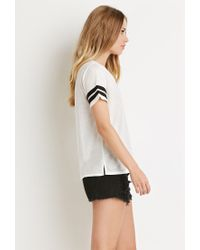 Forever 21 | Black Varsity Stripe-sleeved Tee | Lyst