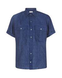Richard James - Blue Linen Military Shirt for Men - Lyst
