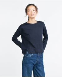 Zara | Blue Plush Top | Lyst
