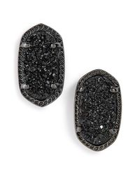 Kendra Scott | Black 'ellie' Oval Stone Stud Earrings | Lyst