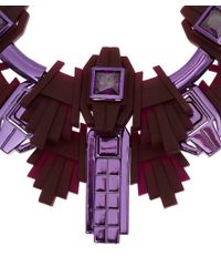 EK Thongprasert - Red Burgundy Art Deco Silicone and Cubic Zirconia Necklace - Lyst