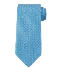 Ferragamo - Blue Gancini-print Silk Tie for Men - Lyst