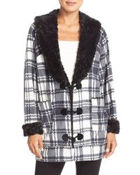 Kensie | Black Print Fleece Cardigan | Lyst