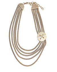 Rachel Zoe | Metallic Goldtone Multi Row Necklace | Lyst