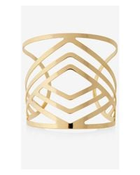 Express | Metallic Aztec Cut-out Open Cuff Bracelet | Lyst