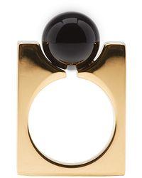 Chloé | Metallic Gold & Black Square Darcey Ring | Lyst