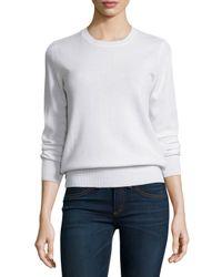 Neiman Marcus   White Long-sleeve Crewneck Cashmere Sweater   Lyst