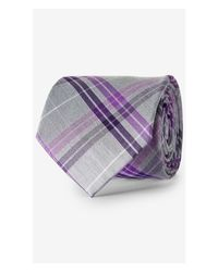 Express - Purple Plaid Check Narrow Silk Blend Tie for Men - Lyst