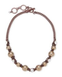 Givenchy | White Rose Gold-Tone & Faux Pearl Accented Necklace | Lyst