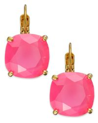 kate spade new york | Gold-tone Pink Stone Square Leverback Earrings | Lyst