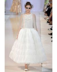 Rochas - White Embroidered Silk Organza Long Dress - Lyst