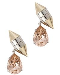Givenchy | Metallic Gold Tone Crystal Drop Earrings | Lyst