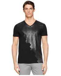 Calvin Klein - Black Ck One Grid-Graphic V-Neck Slim-Fit T-Shirt for Men - Lyst