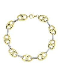 Lord & Taylor | Metallic 14k Yellow And White Gold Link Bracelet | Lyst
