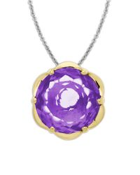 Lord & Taylor | Purple Sterling Silver Necklace With 14kt Yellow Gold Amethyst Pendant | Lyst