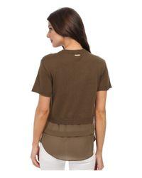 MICHAEL Michael Kors | Metallic Woven Hem Short Sleeve Sweater | Lyst