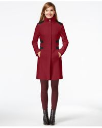 Via Spiga | Red Faux-leather-panel Walker Coat | Lyst