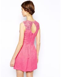 Oasis - Pink Trim Fit And Flare Dress - Lyst