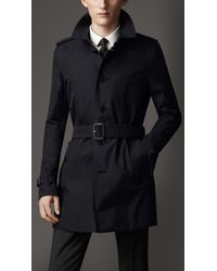 Burberry - Blue Cotton Gabardine Trench Coat for Men - Lyst