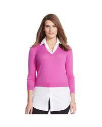 Ralph Lauren - Pink Layered V-neck Sweater - Lyst
