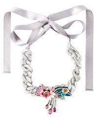 Shourouk - Metallic 'flower Chain' Necklace - Lyst