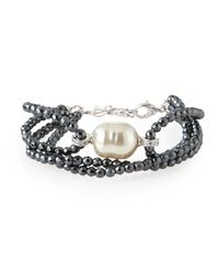 Majorica - Black Hematite-Beaded Multi-Strand Bracelet With Organic Manmade Pearl - Lyst