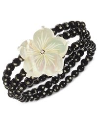 Macy's | Black Onyx (122 Ct. T.w.) And Mother Of Pearl (32 Mm) Flower Stretch Bracelet In Sterling Silver | Lyst