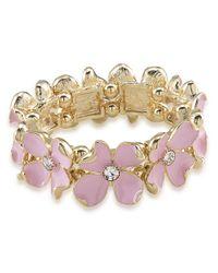 Carolee | Pink Gemstone Garden Floral Stretch Bracelet | Lyst