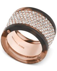 Michael Kors | Multicolor Rose Gold-tone Tortoise-look Pave Ring | Lyst