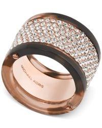 Michael Kors | Pink Rose Gold-tone Tortoise-look Pavé Ring | Lyst