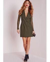 Missguided - Natural Mesh Back Blazer Dress Khaki - Lyst