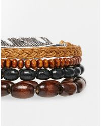 ASOS | Brown Beaded Necklace And Bracelet Pack With Feather for Men | Lyst